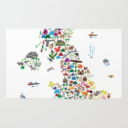 Animal Map of Great Britain & NI for children and kids Rug