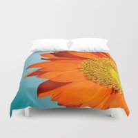 sunflowers Duvet Covers featuring sunflowers by mark ashkenazi