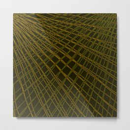 Rays of golden light with mirrored light waves on dark. Metal Print
