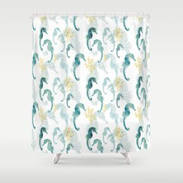 Pointillism Seahorse Shower Curtain