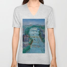 River Seine, Paris, France in Moonlight landscape painting wall decor by Jéan Dufy Unisex V-Neck