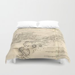 Vintage Map of Istanbul Turkey (1784) Duvet Cover