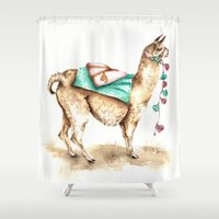 llama Shower Curtains featuring Watercolor Llama by Goosi