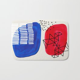 Fun Abstract Minimalist Mid Century Modern Colorful Shapes Red Blue Color Harmony Watercolor Bubbles Bath Mat