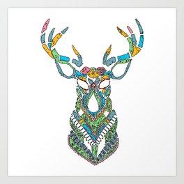Christmas Deer Art Art Print