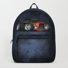 30's Street Rod with Classic Hot Rod Flames Cartoon Backpack