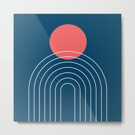Mid Century Modern Geometric 14 (in Midnight Blue and Coral) Metal Print