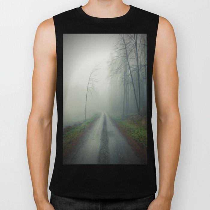 Foggy paths lead to heaven Biker Tank