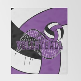 Volleyball Sport Game - Net - Purple Throw Blanket