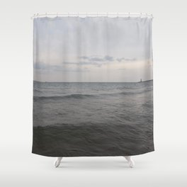 Distant Lighthouse on Lake Michigan Shower Curtain