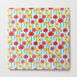 Bright Sunny Mod Poppy Flower Pattern Metal Print