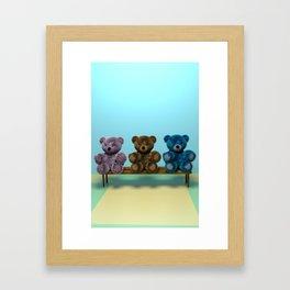 Bears on the Bench Framed Art Print