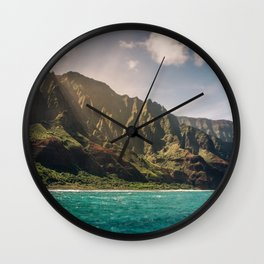 Na Pali Coast Kauai Hawaii Printable Wall Art | Tropical Beach Nature Ocean Coastal Travel Photography Print Wall Clock