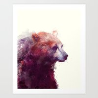 smile Art Prints featuring Bear // Calm by Amy Hamilton