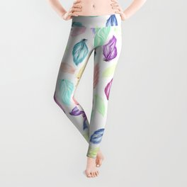 Modern colorful boho watercolor feathers hand painted pattern Leggings