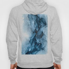Deep Blue Flowing Water Abstract Painting Hoody