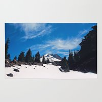 robin hood Area & Throw Rugs featuring Mt. Hood by Leah Flores