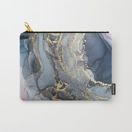 Blush, Payne's Gray and Gold Metallic Abstract Carry-All Pouch