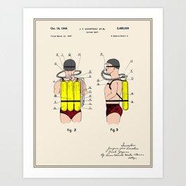 Jacques Cousteau Diving Gear Patent  Art Print