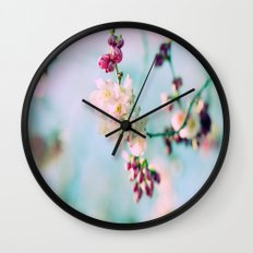 Cherry Blossoms pink Pastels Wall Clock