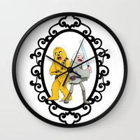 finn and jake Wall Clocks featuring Jedi Finn & Wookie Jake by createASAP