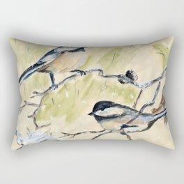 Chickadees Blackcap watercolor Rectangular Pillow