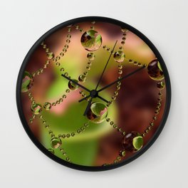 Pitcher Plant Web Drops Wall Clock