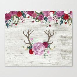 White Wood with Romance Flowers Canvas Print