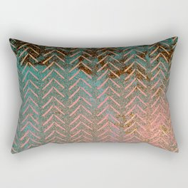 Rustic Copper and Teal Marble Chevron Rectangular Pillow