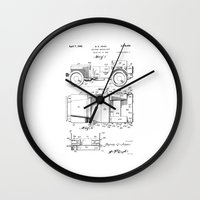 jeep Wall Clocks featuring Jeep: Byron Q. Jones Original Jeep Patent by Elegant Chaos Gallery