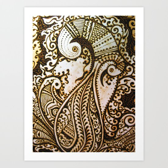 Peacock Passion Detailed In Henna Art Print