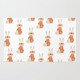 Cute funny hand drawn orange brown vector rabbit pattern Rug