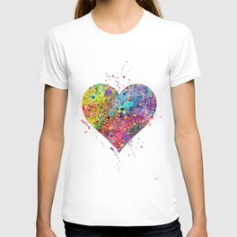 Heart Watercolor Art Print Love Home Decor Valentine's Day Wedding or Engagement Gift T-shirt