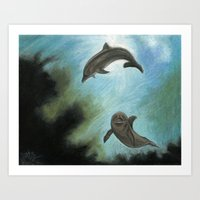 dolphins Art Prints featuring Dolphins by Savousepate