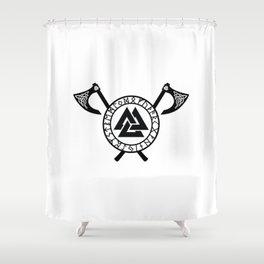 Norse Axe - Valknut Shower Curtain