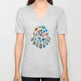 Native American Colorful Dream Catcher by Sharon Cummings Unisex V-Neck