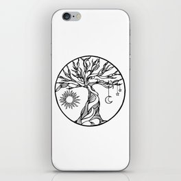 black and white tree of life with hanging sun, moon and stars I iPhone Skin