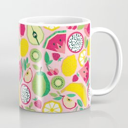 Paper cut geo fruits // pink background multicoloured geometric fruits Coffee Mug