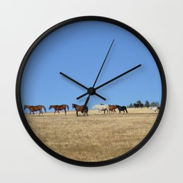 Horses in the Pasture Photography Print Wall Clock