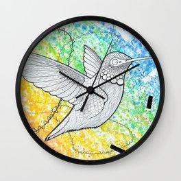 Rainbow Hummingbird Wall Clock