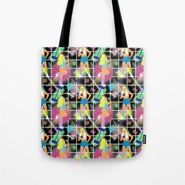 Neon 80's Fitness in Black Grid Tote Bag