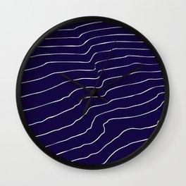 Contour Lines Dark Blue Wall Clock