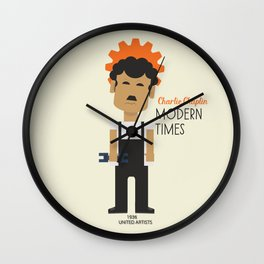 "Charlie Chaplin ""Modern Times"" movie poster, fine Art print, classic film with Paulette Goddard Wall Clock"