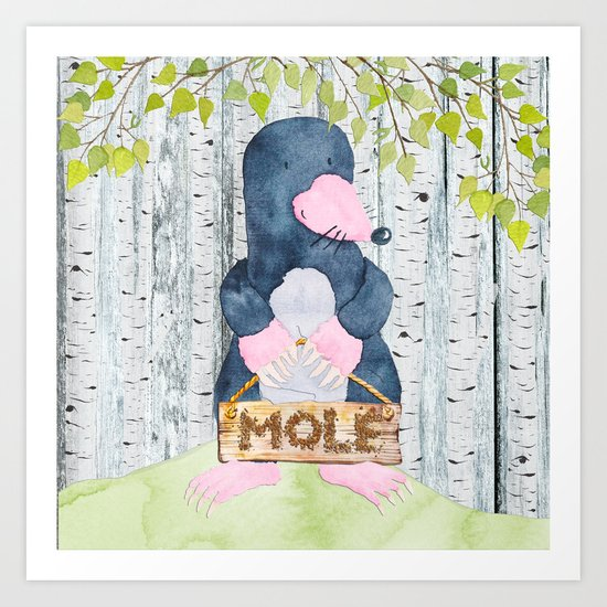 The busy Mole - Woodland Friends- Watercolor Illustration Art Print