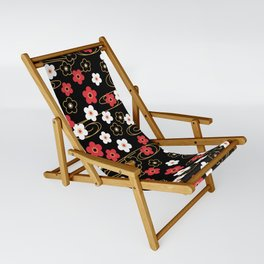 Black Sakura Kimono Pattern Sling Chair