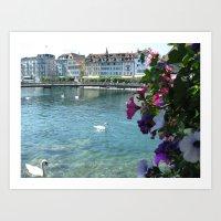 switzerland Art Prints featuring Switzerland by Melia Metikos