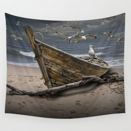 Gulls Flying over a Shipwrecked Wooden Boat Wall Tapestry