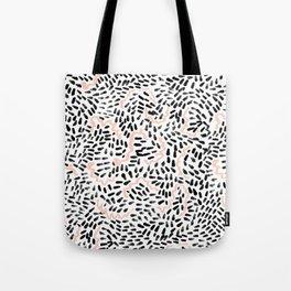 Helena - black white rose quartz abstract squiggle dot mark making painting brushstrokes minimal  Tote Bag