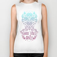 good vibes only Biker Tanks featuring Good vibes only pink by Anita Molnár Anita
