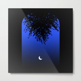 Moon shining through an Archway and Branch Silhouette, on a Blue Night Sky . Larger Metal Print